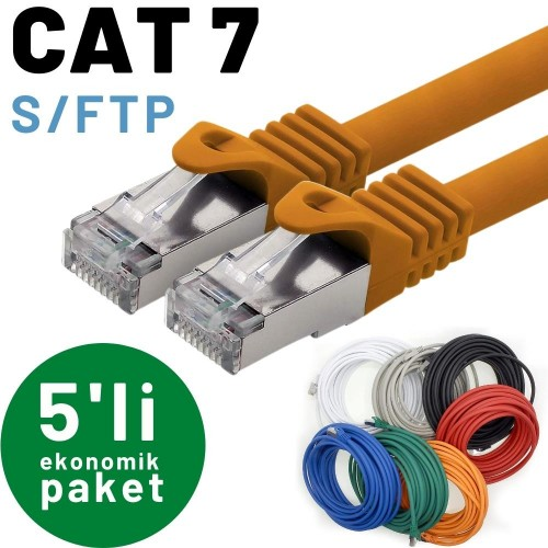 5 adet IRENIS CAT7 S/FTP Ethernet Network Lan İnternet Kablosu , 2mt