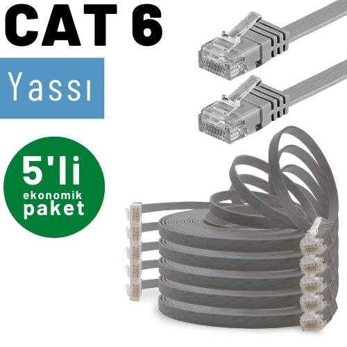 5 adet IRENIS CAT6 Yassı Ethernet Network Lan İnternet Kablosu, 2mt