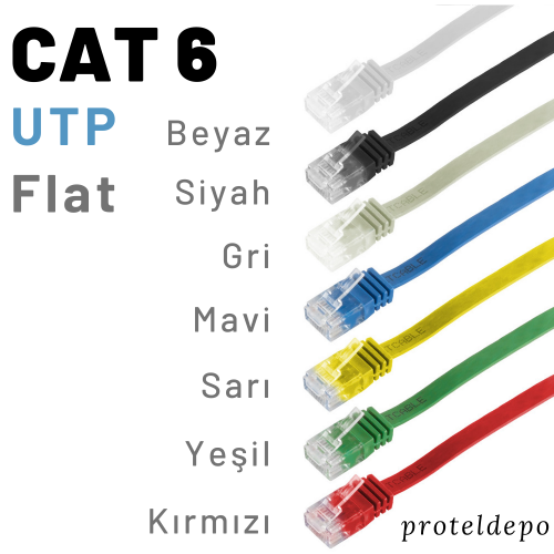 PACIFIC Cat6 UTP Yassı Patch Kablo 15m